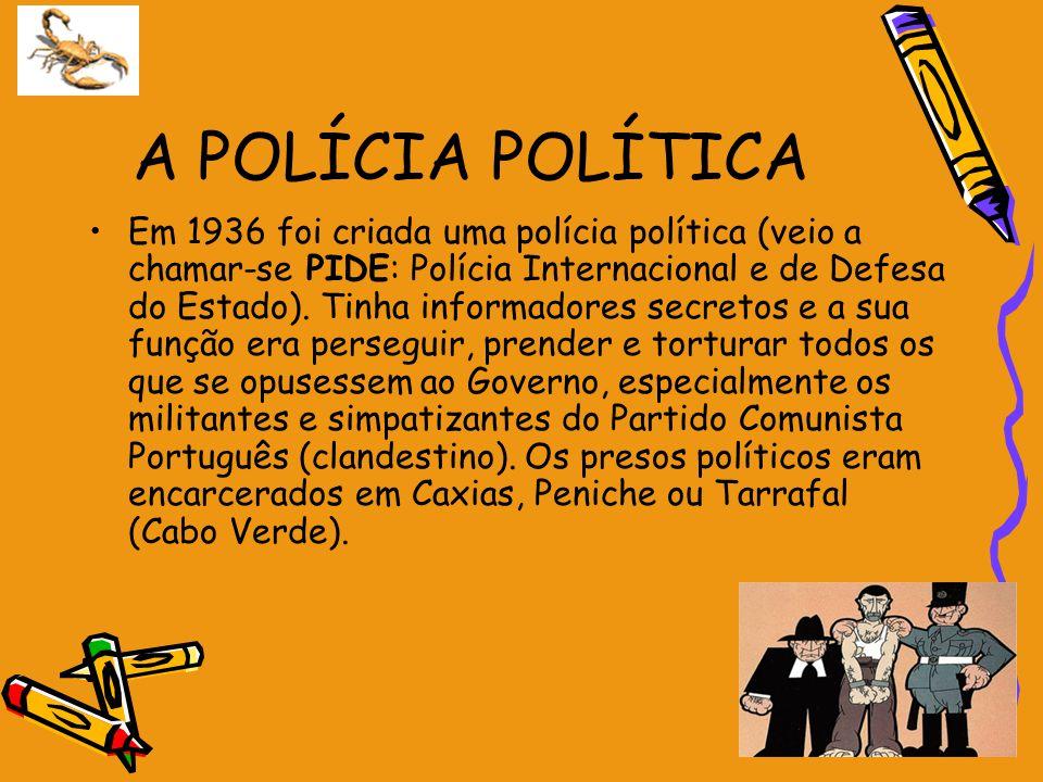 A POLÍCIA POLÍTICA Em 1936 foi criada uma polícia política (veio a chamar-se PIDE: Polícia Internacional e de Defesa do Estado). Tinha informadores se
