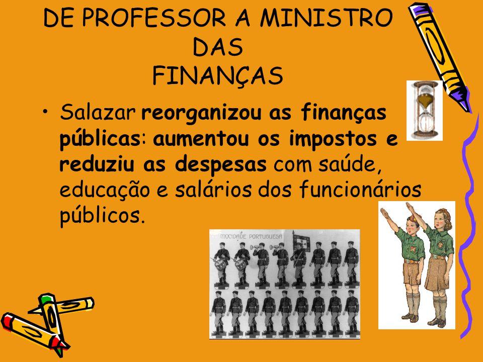 DE PROFESSOR A MINISTRO DAS FINANÇAS Salazar reorganizou as finanças públicas: aumentou os impostos e reduziu as despesas com saúde, educação e salári