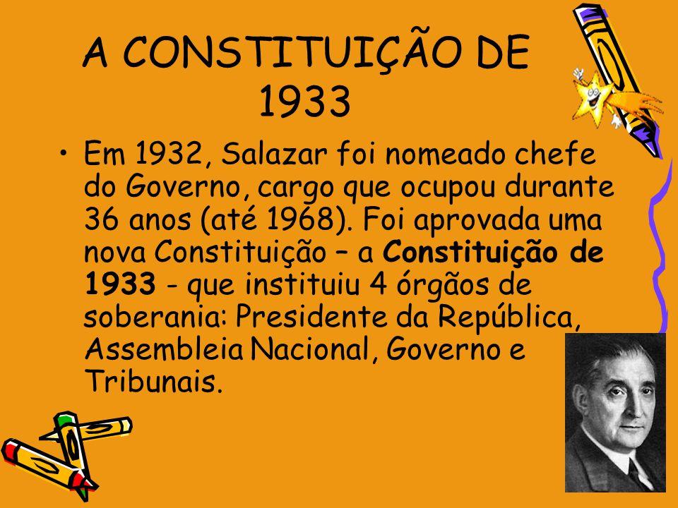 A CONSTITUIÇÃO DE 1933 Em 1932, Salazar foi nomeado chefe do Governo, cargo que ocupou durante 36 anos (até 1968). Foi aprovada uma nova Constituição
