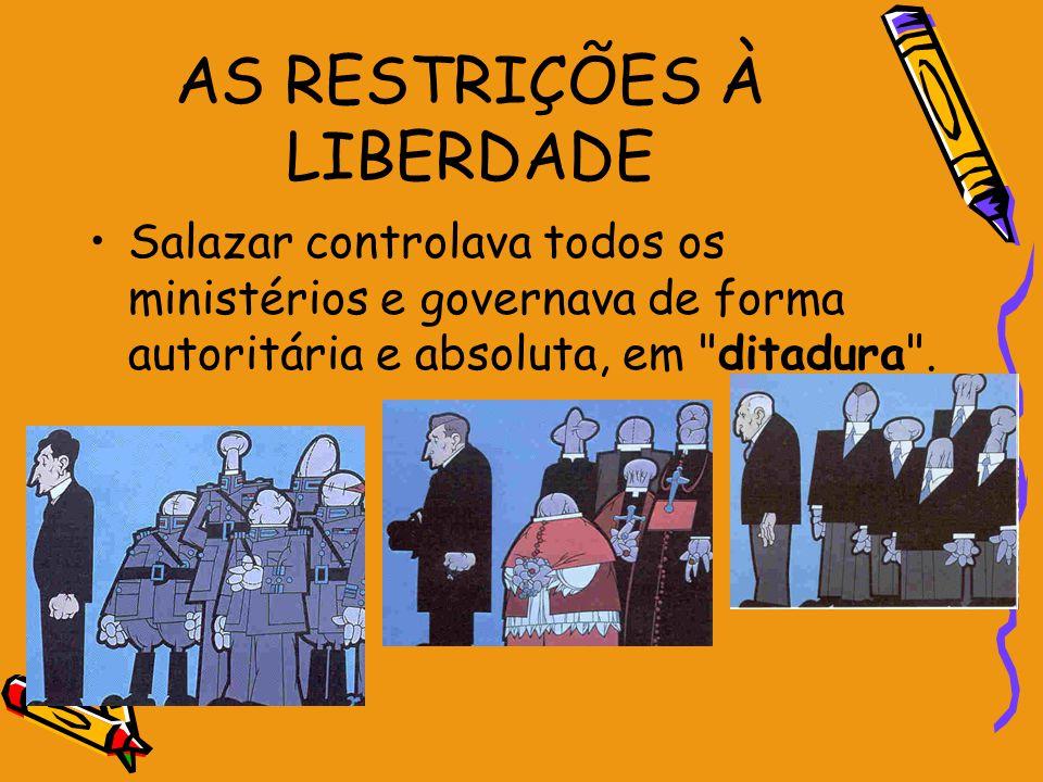 AS RESTRIÇÕES À LIBERDADE Salazar controlava todos os ministérios e governava de forma autoritária e absoluta, em
