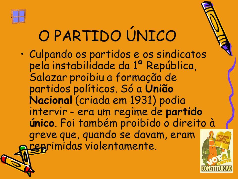 O PARTIDO ÚNICO Culpando os partidos e os sindicatos pela instabilidade da 1ª República, Salazar proibiu a formação de partidos políticos. Só a União
