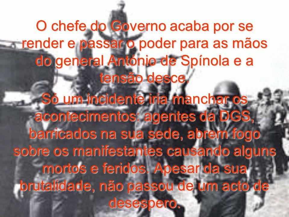 Tal como a Monarquia em 5 de Outubro de 1910 e a República em 28 de Maio de 1926, o regime cai por já não ter ninguém que o defenda e queira dar a vida por ele.