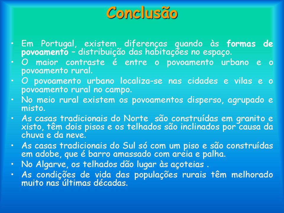 Conclusão Em Portugal, existem diferenças quando às formas de povoamento – distribuição das habitações no espaço. O maior contraste é entre o povoamen