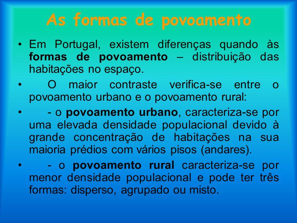 As formas de povoamento Em Portugal, existem diferenças quando às formas de povoamento – distribuição das habitações no espaço. O maior contraste veri