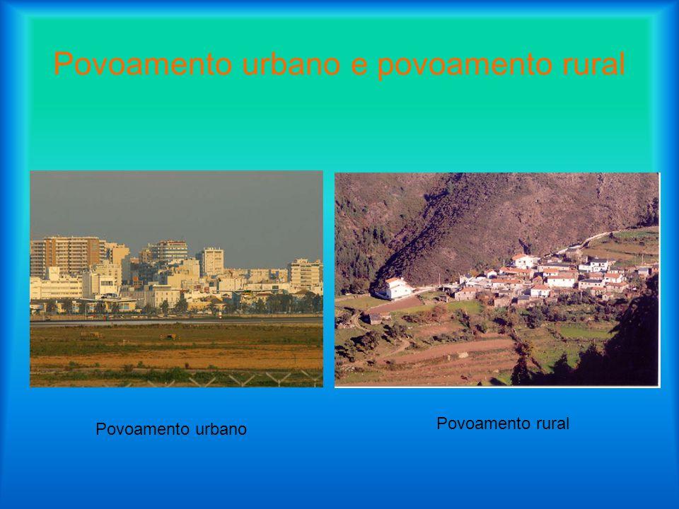 Povoamento urbano e povoamento rural Povoamento urbano Povoamento rural