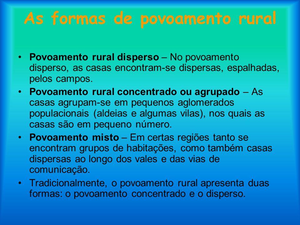 As formas de povoamento rural Povoamento rural disperso – No povoamento disperso, as casas encontram-se dispersas, espalhadas, pelos campos. Povoament