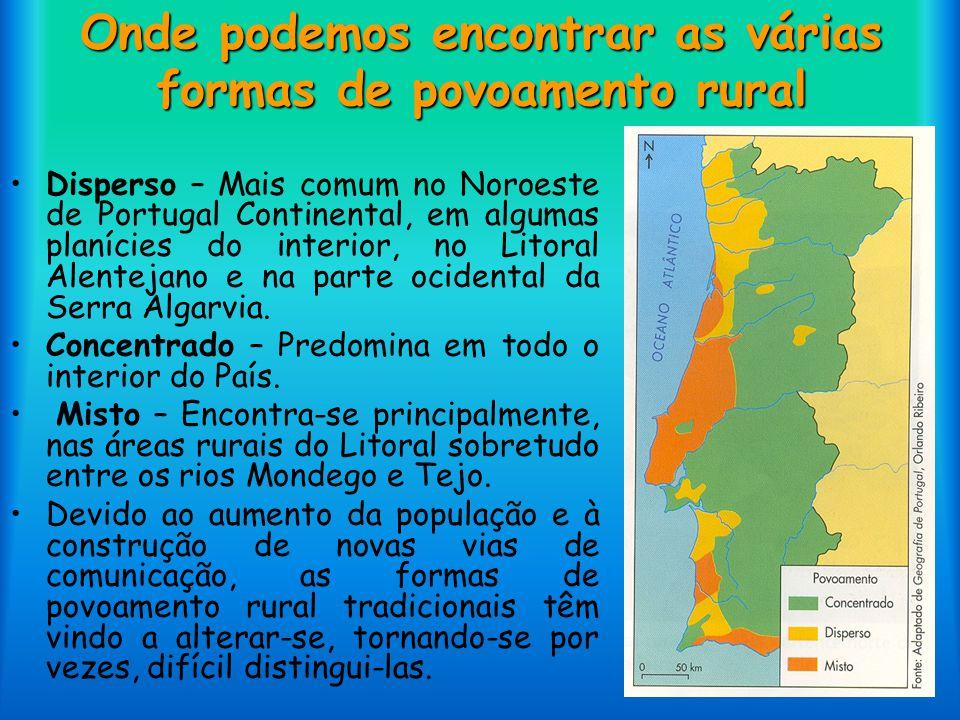 Onde podemos encontrar as várias formas de povoamento rural Disperso – Mais comum no Noroeste de Portugal Continental, em algumas planícies do interio