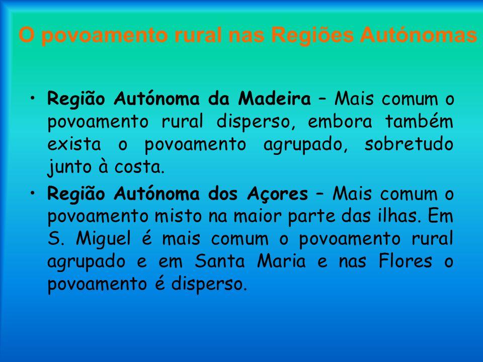 O povoamento rural nas Regiões Autónomas Região Autónoma da Madeira – Mais comum o povoamento rural disperso, embora também exista o povoamento agrupa
