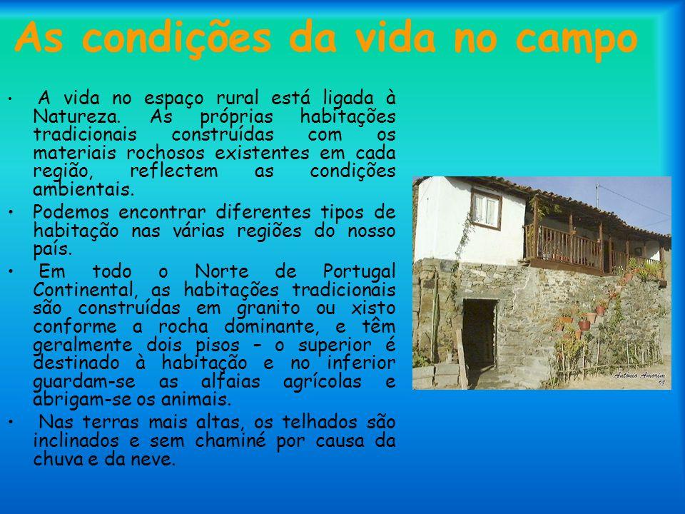 As condições da vida no campo A vida no espaço rural está ligada à Natureza. As próprias habitações tradicionais construídas com os materiais rochosos