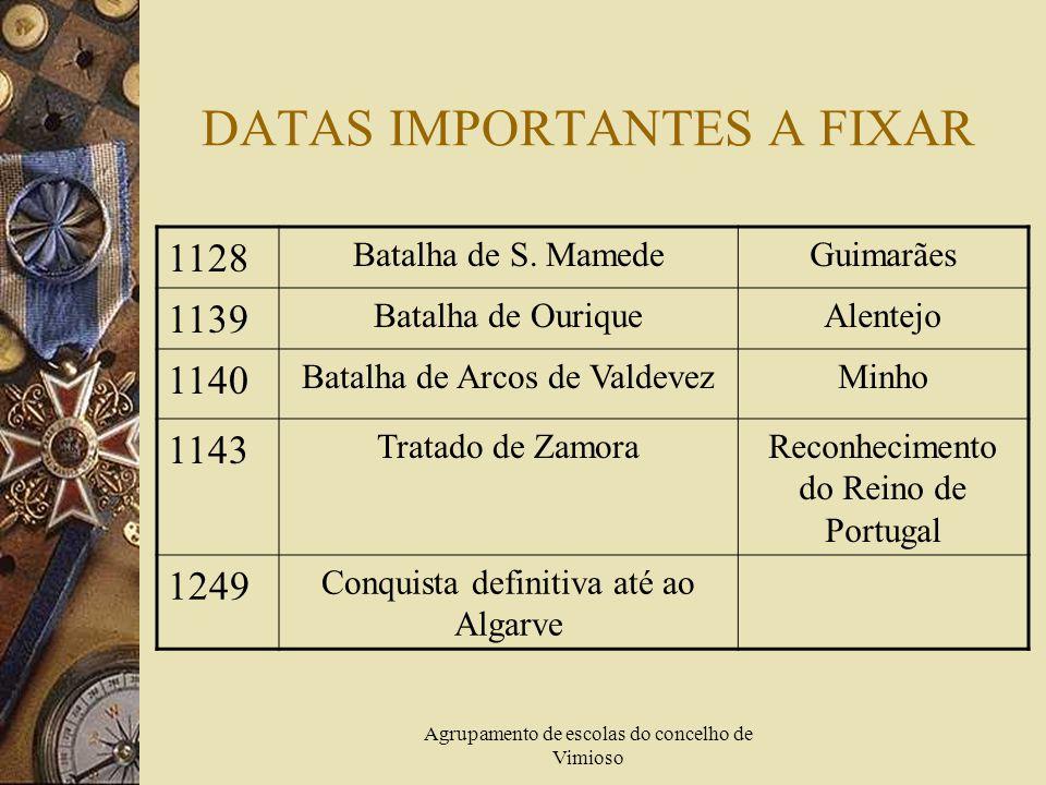 Agrupamento de escolas do concelho de Vimioso DATAS IMPORTANTES A FIXAR 1128 Batalha de S.