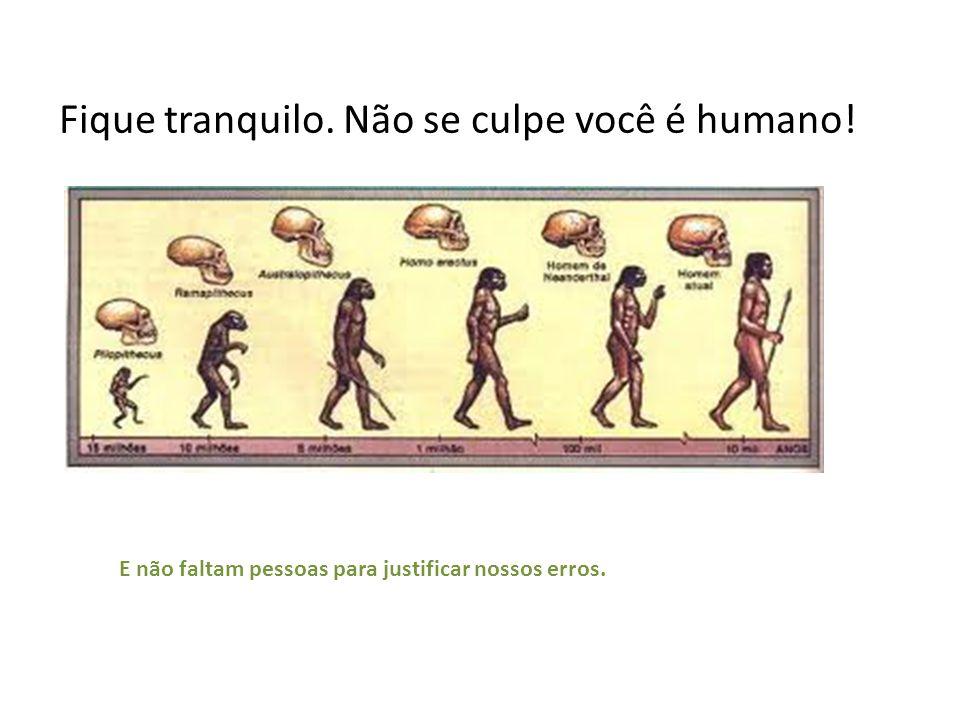 Fique tranquilo. Não se culpe você é humano! E não faltam pessoas para justificar nossos erros.