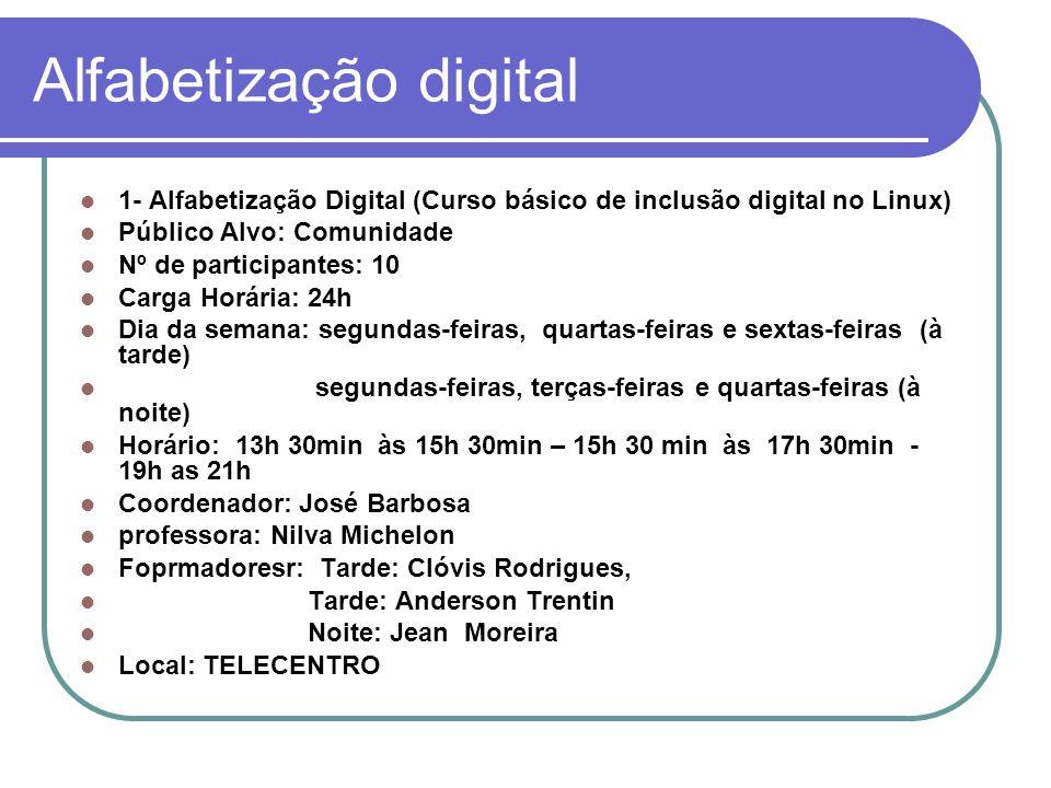 Alfabetização digital 1- Alfabetização Digital (Curso básico de inclusão digital no Linux) Público Alvo: Comunidade Nº de participantes: 10 Carga Horária: 24h Dia da semana: segundas-feiras, quartas-feiras e sextas-feiras (à tarde) segundas-feiras, terças-feiras e quartas-feiras (à noite) Horário: 13h 30min às 15h 30min – 15h 30 min às 17h 30min - 19h as 21h Coordenador: José Barbosa professora: Nilva Michelon Foprmadoresr: Tarde: Clóvis Rodrigues, Tarde: Anderson Trentin Noite: Jean Moreira Local: TELECENTRO