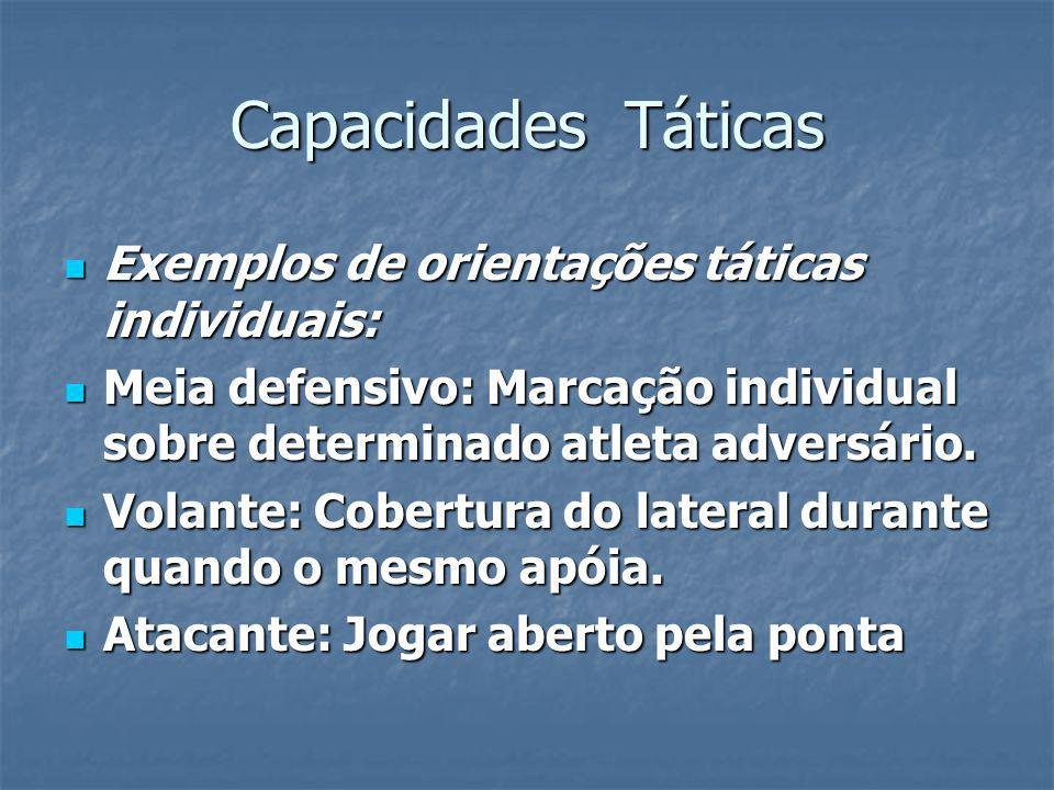 Capacidades Táticas Exemplos de orientações táticas individuais: Exemplos de orientações táticas individuais: Meia defensivo: Marcação individual sobre determinado atleta adversário.