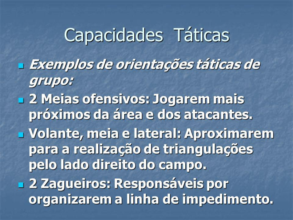 Capacidades Táticas Exemplos de orientações táticas de grupo: Exemplos de orientações táticas de grupo: 2 Meias ofensivos: Jogarem mais próximos da área e dos atacantes.