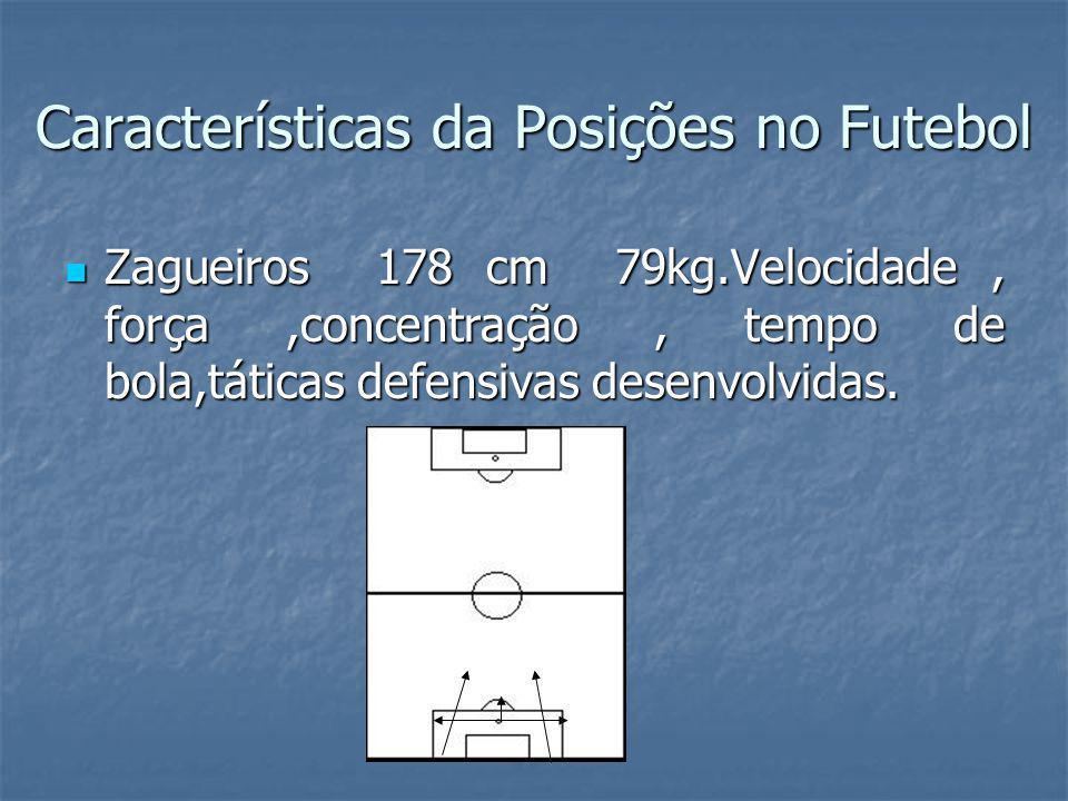 Características da Posições no Futebol Zagueiros 178 cm 79kg.Velocidade, força,concentração, tempo de bola,táticas defensivas desenvolvidas.