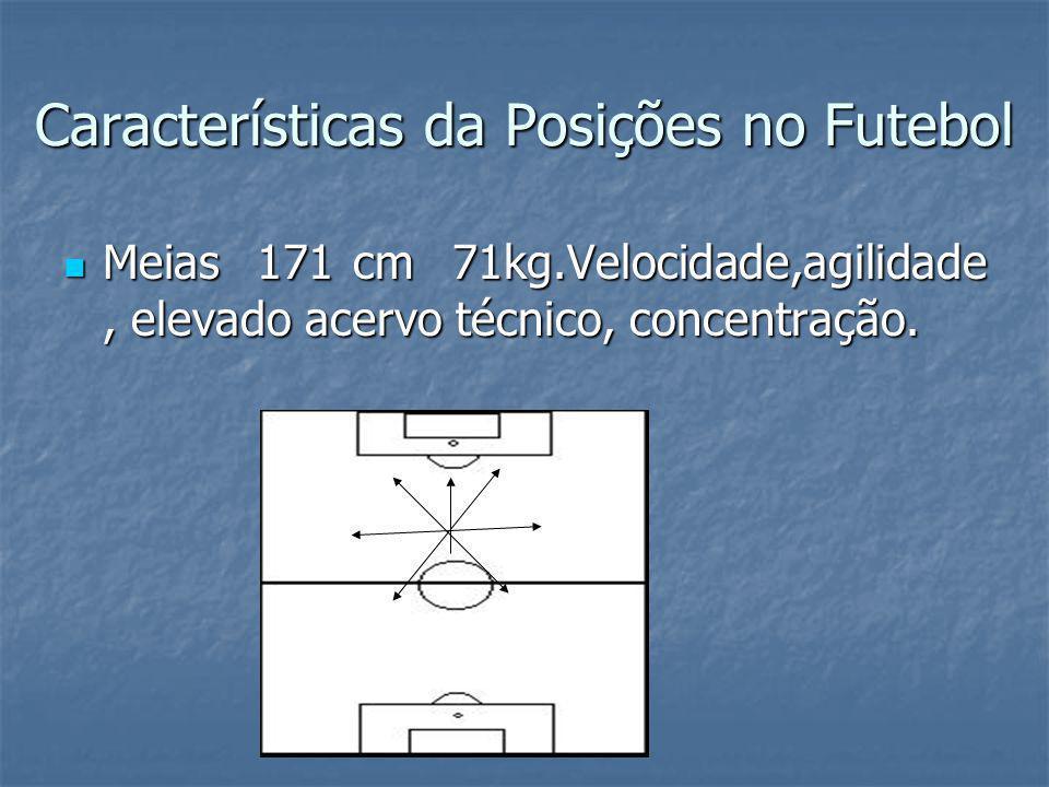 Características da Posições no Futebol Meias 171 cm 71kg.Velocidade,agilidade, elevado acervo técnico, concentração.
