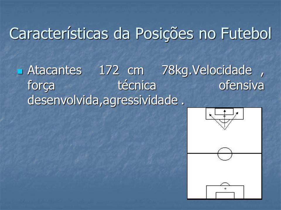 Características da Posições no Futebol Atacantes 172 cm 78kg.Velocidade, força técnica ofensiva desenvolvida,agressividade.