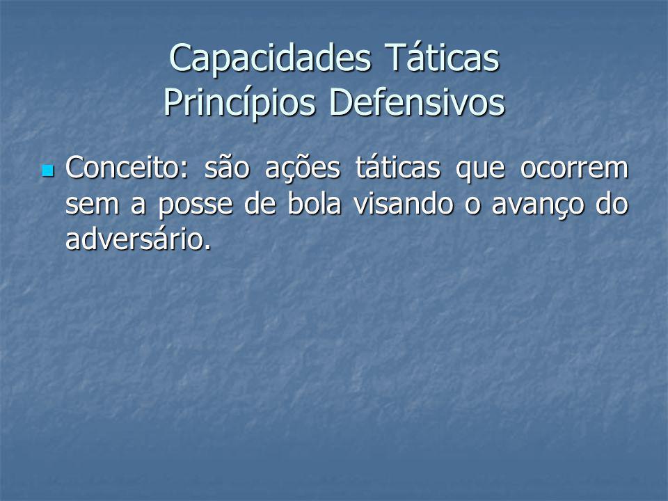 Capacidades Táticas Princípios Defensivos Conceito: são ações táticas que ocorrem sem a posse de bola visando o avanço do adversário.
