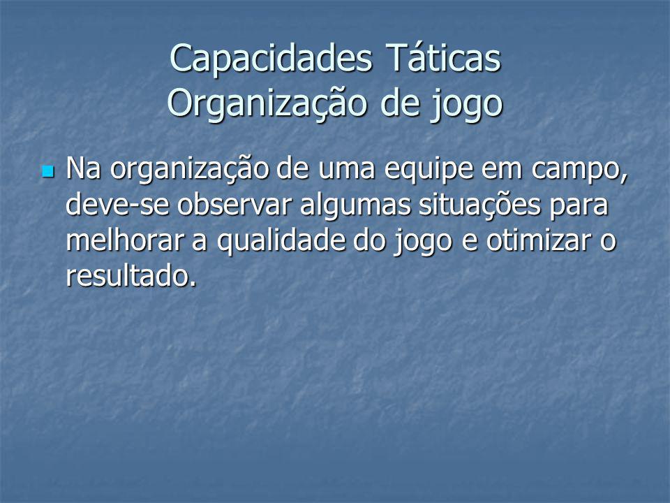Capacidades Táticas Organização de jogo Na organização de uma equipe em campo, deve-se observar algumas situações para melhorar a qualidade do jogo e otimizar o resultado.