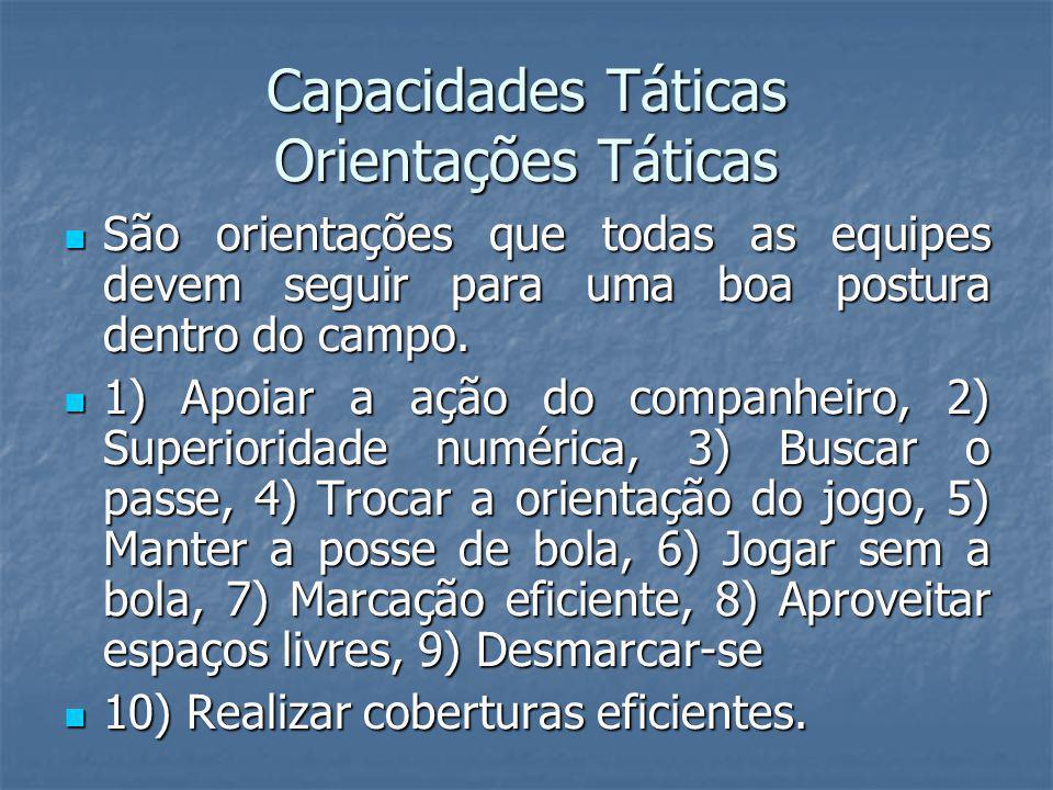 Capacidades Táticas Orientações Táticas São orientações que todas as equipes devem seguir para uma boa postura dentro do campo.
