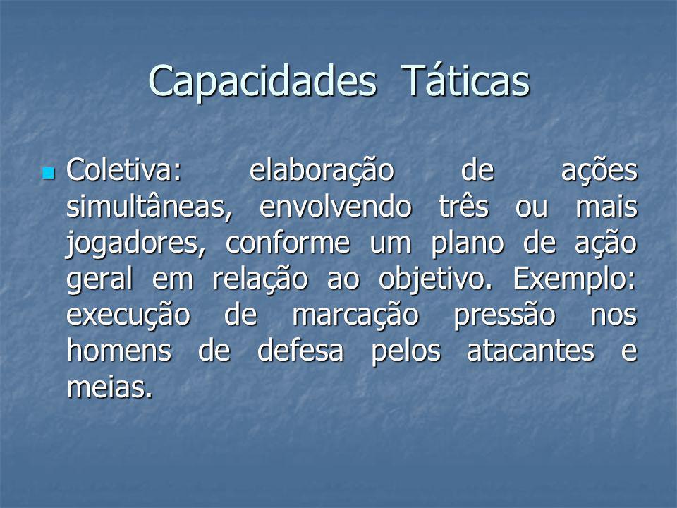 Capacidades Táticas Coletiva: elaboração de ações simultâneas, envolvendo três ou mais jogadores, conforme um plano de ação geral em relação ao objetivo.