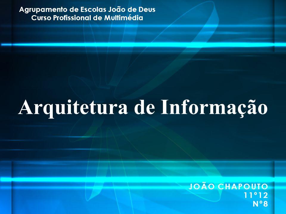 JOÃO CHAPOUTO 11º12 Nº8 Arquitetura de Informação Agrupamento de Escolas João de Deus Curso Profissional de Multimédia