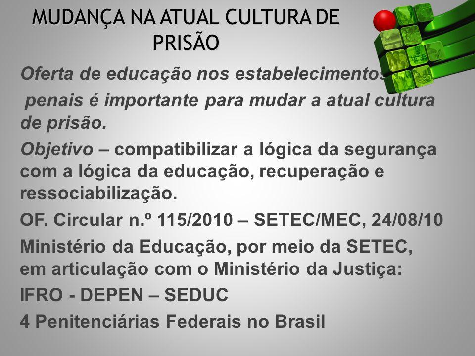 CONSTRUÇÃO ITINERÁRIOS FORMATIVOS PARCERIAS: DEPEN & SEDUC: composição equipe produção material didático formação profissionais BASE LEGAL http://portal.mec.gov.br/setec Resolução CNE/CEB n.º 2/2010 Parecer CNE/CEB n.º 4/2010 Resolução Conselho Nacional de Política Criminal e Penitenciária n.º 3 de 11 março de 2009 http://portal.mec.gov.br/setec