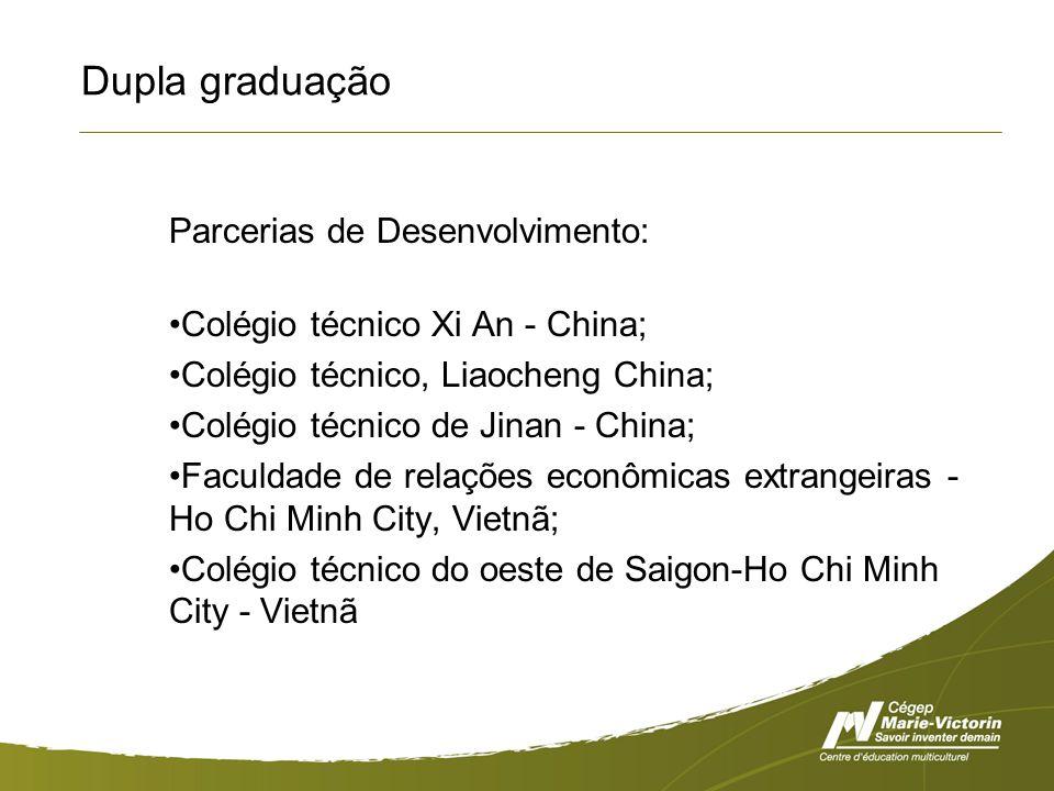 Dupla graduação Parcerias de Desenvolvimento: Colégio técnico Xi An - China; Colégio técnico, Liaocheng China; Colégio técnico de Jinan - China; Faculdade de relações econômicas extrangeiras - Ho Chi Minh City, Vietnã; Colégio técnico do oeste de Saigon-Ho Chi Minh City - Vietnã