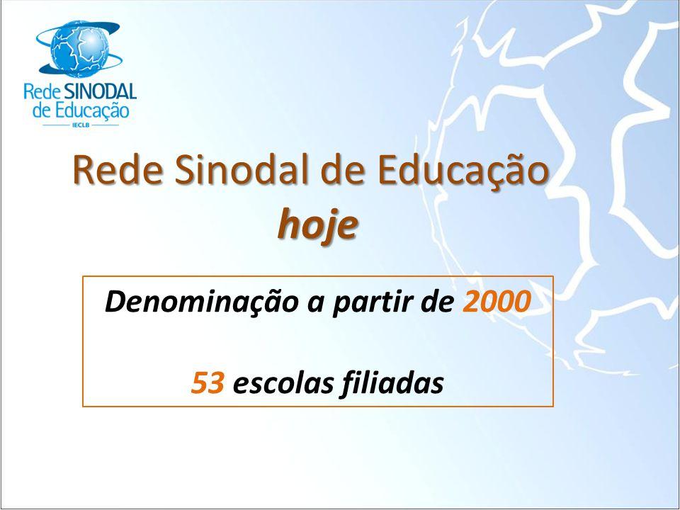 Rede Sinodal de Educação hoje Denominação a partir de 2000 53 escolas filiadas