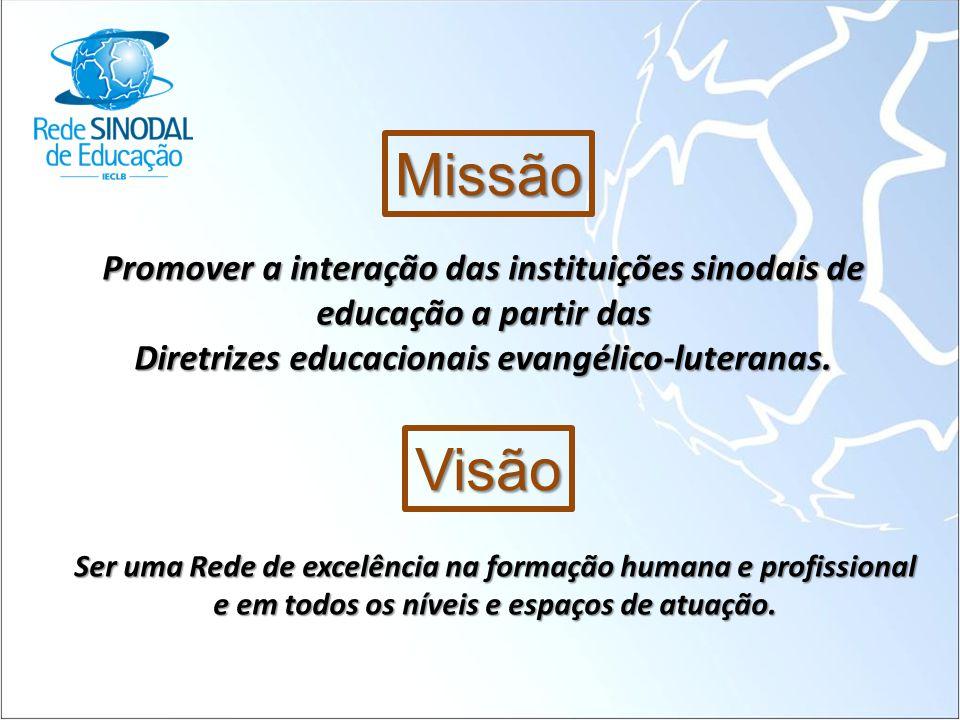 Missão Promover a interação das instituições sinodais de educação a partir das Diretrizes educacionais evangélico-luteranas. Visão Ser uma Rede de exc