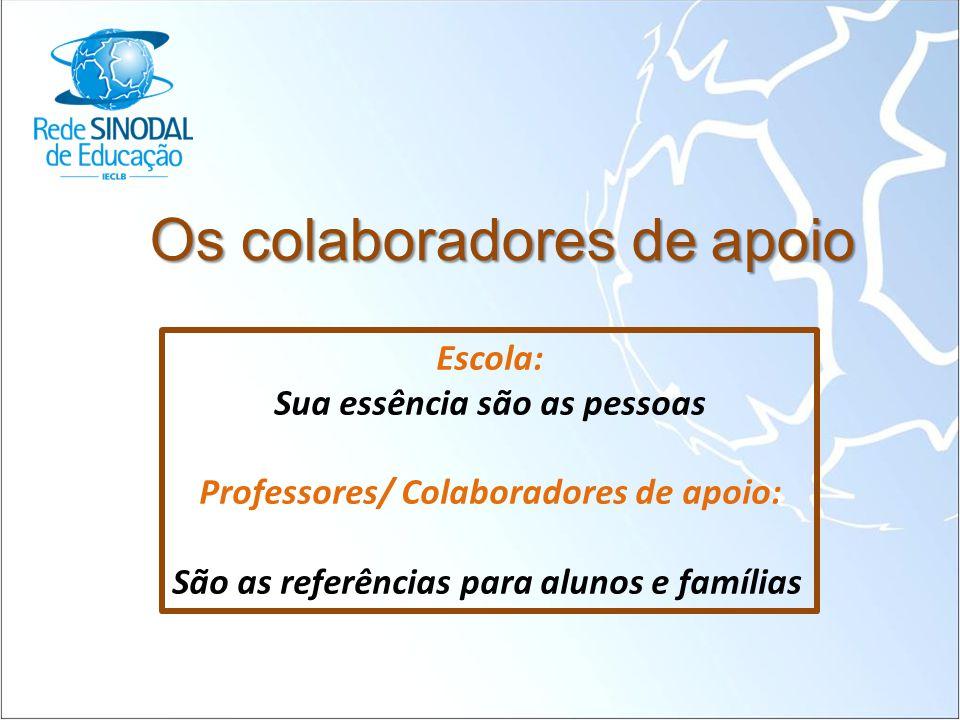 Os colaboradores de apoio Escola: Sua essência são as pessoas Professores/ Colaboradores de apoio: São as referências para alunos e famílias