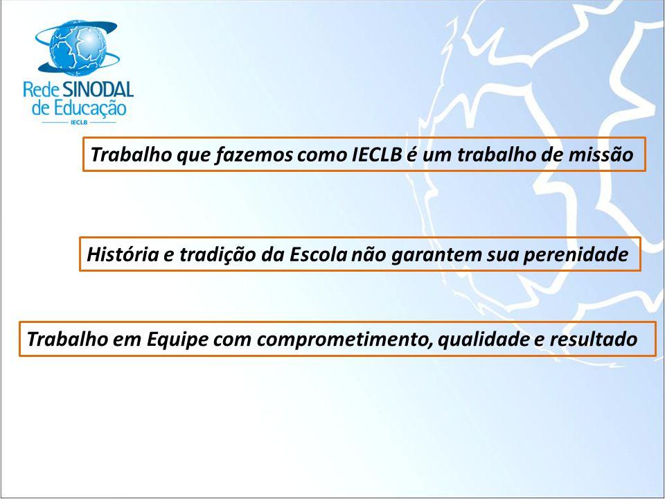 Trabalho que fazemos como IECLB é um trabalho de missão História e tradição da Escola não garantem sua perenidade Trabalho em Equipe com comprometimen