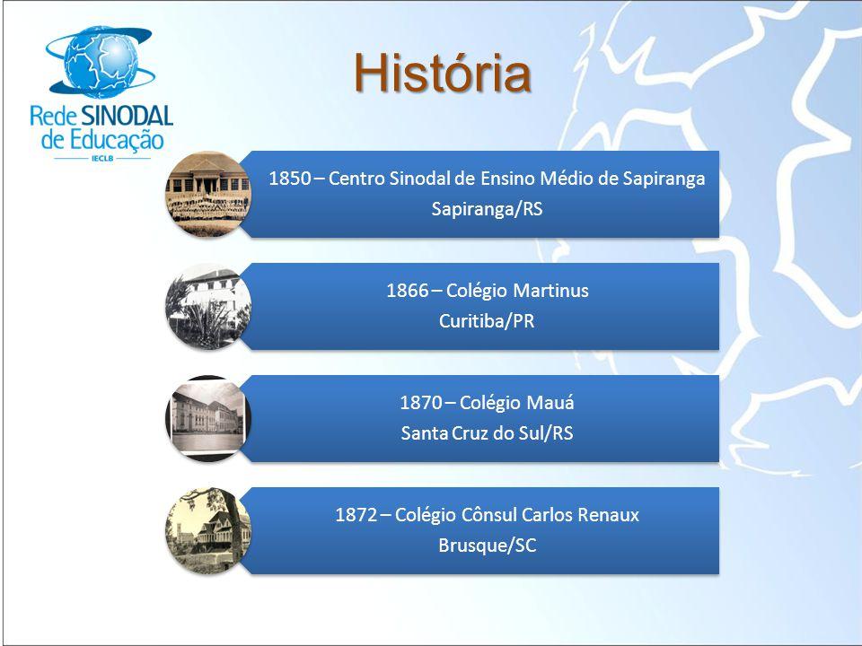 História 1850 – Centro Sinodal de Ensino Médio de Sapiranga Sapiranga/RS 1866 – Colégio Martinus Curitiba/PR 1870 – Colégio Mauá Santa Cruz do Sul/RS