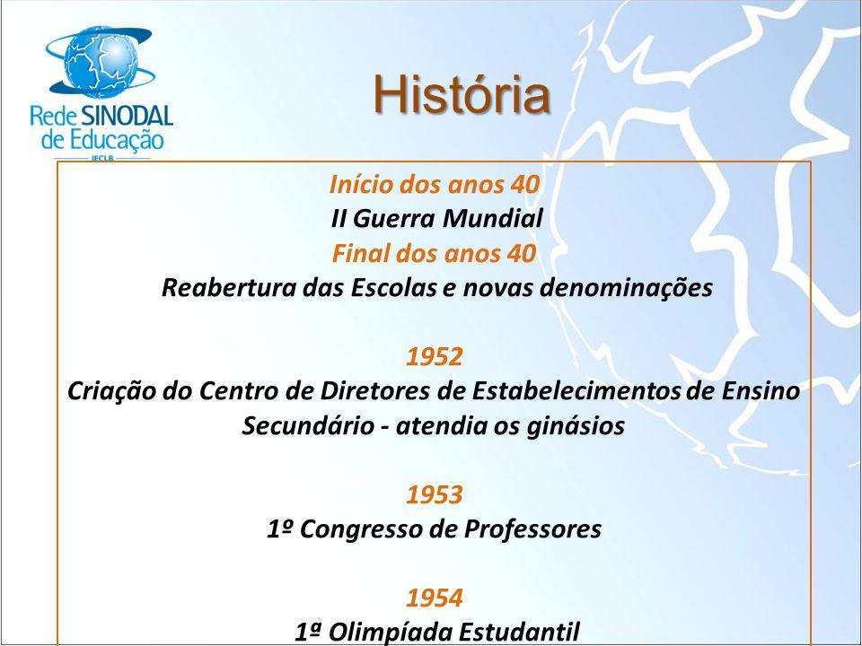 História Início dos anos 40 II Guerra Mundial Final dos anos 40 Reabertura das Escolas e novas denominações 1952 Criação do Centro de Diretores de Est