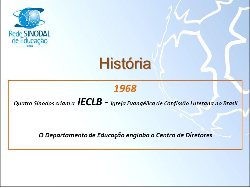 História 1968 Quatro Sínodos criam a IECLB - Igreja Evangélica de Confissão Luterana no Brasil O Departamento de Educação engloba o Centro de Diretore