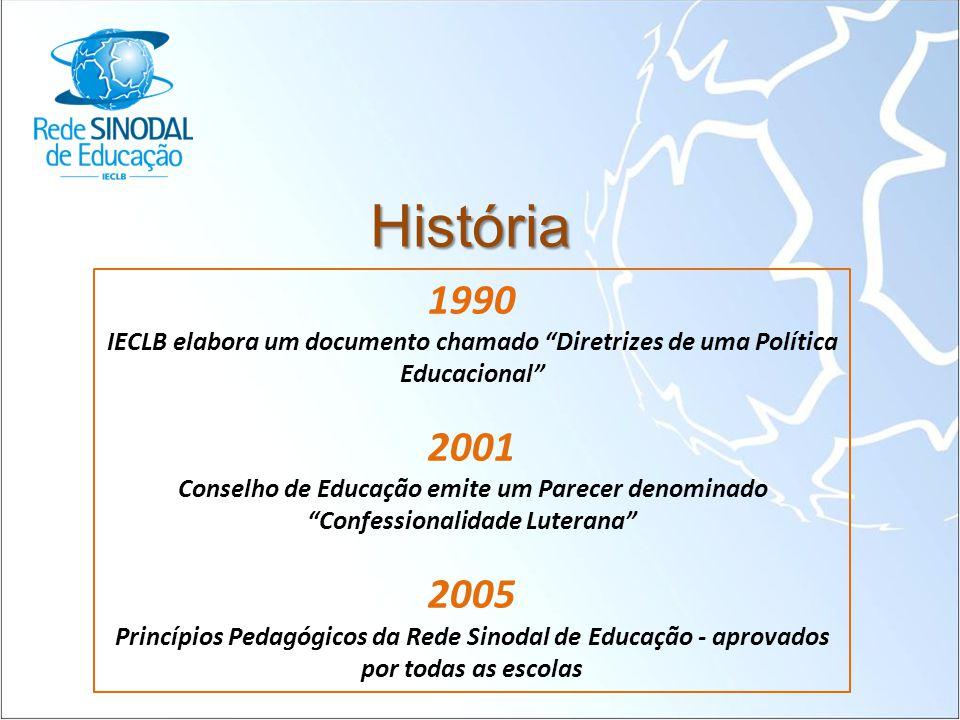 """História 1990 IECLB elabora um documento chamado """"Diretrizes de uma Política Educacional"""" 2001 Conselho de Educação emite um Parecer denominado """"Confe"""