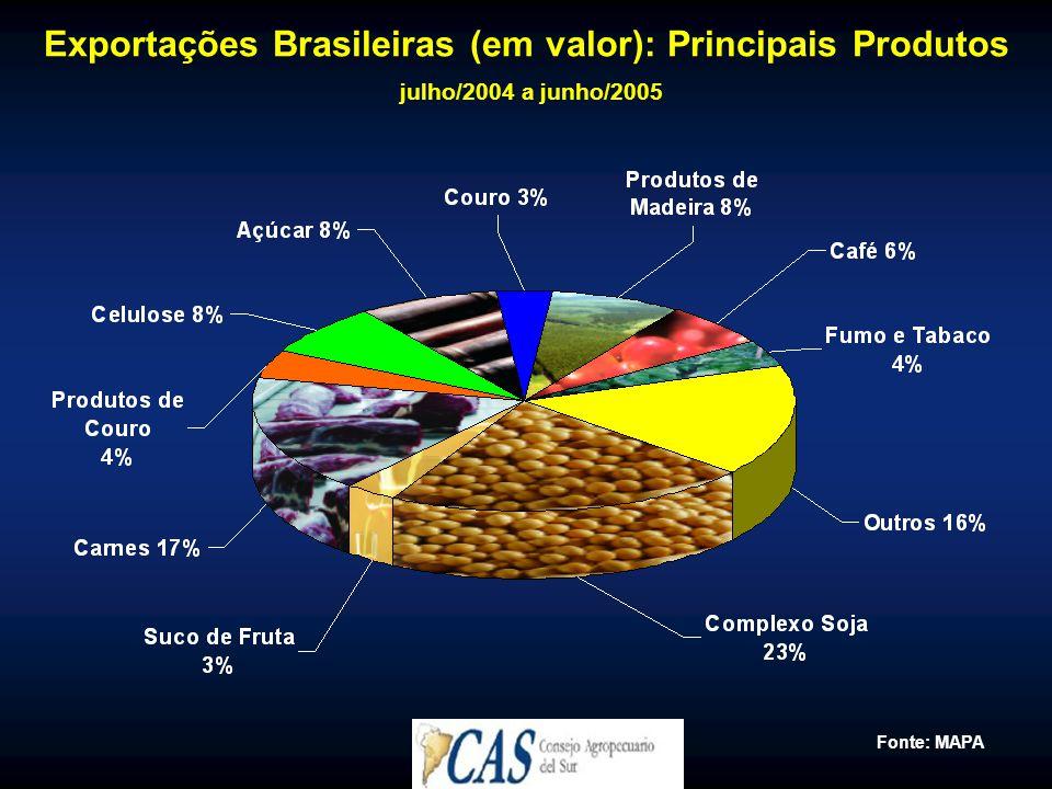 Exportações Brasileiras (em valor): Principais Produtos julho/2004 a junho/2005 Fonte: MAPA