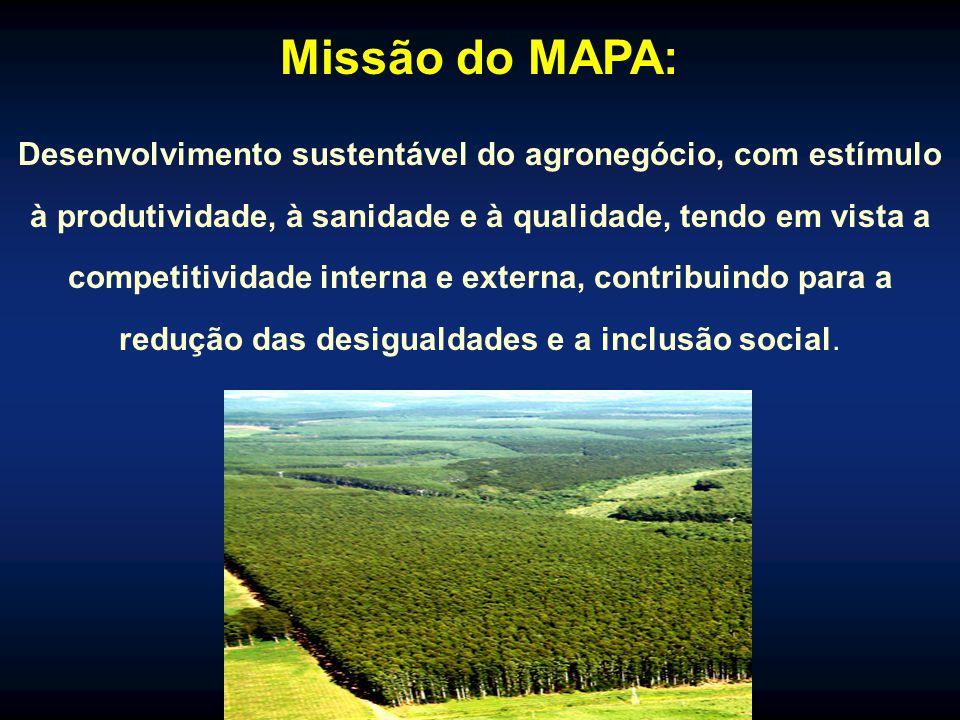 Missão do MAPA: Desenvolvimento sustentável do agronegócio, com estímulo à produtividade, à sanidade e à qualidade, tendo em vista a competitividade interna e externa, contribuindo para a redução das desigualdades e a inclusão social.