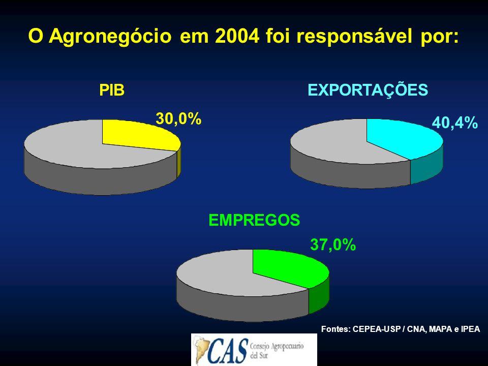 O Agronegócio em 2004 foi responsável por: PIB EMPREGOS EXPORTAÇÕES Fontes: CEPEA-USP / CNA, MAPA e IPEA 30,0% 40,4% 37,0%