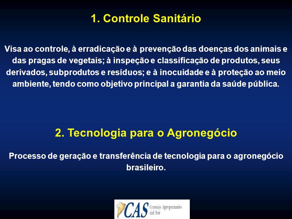 1. Controle Sanitário Visa ao controle, à erradicação e à prevenção das doenças dos animais e das pragas de vegetais; à inspeção e classificação de pr