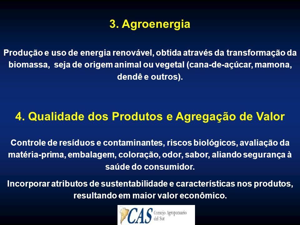 3. Agroenergia Produção e uso de energia renovável, obtida através da transformação da biomassa, seja de origem animal ou vegetal (cana-de-açúcar, mam