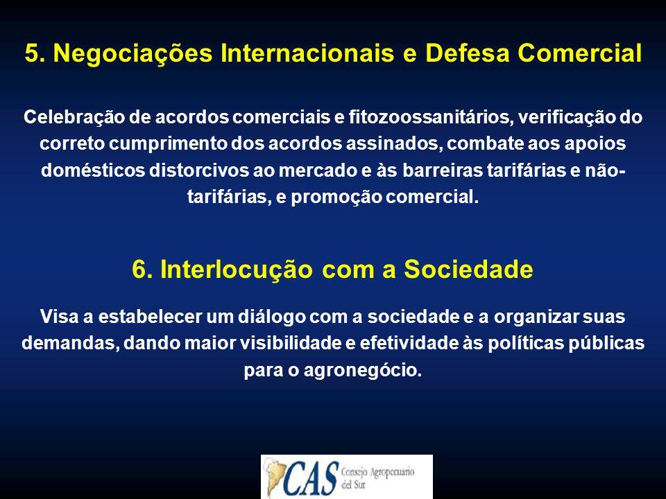 5. Negociações Internacionais e Defesa Comercial Celebração de acordos comerciais e fitozoossanitários, verificação do correto cumprimento dos acordos