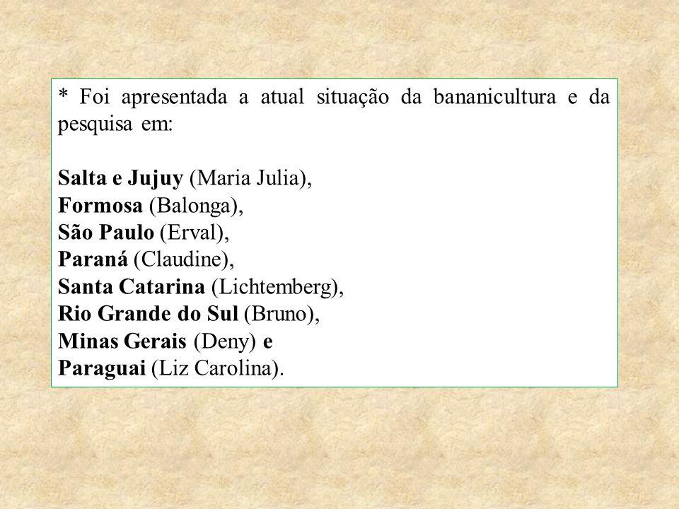 * Foi apresentada a atual situação da bananicultura e da pesquisa em: Salta e Jujuy (Maria Julia), Formosa (Balonga), São Paulo (Erval), Paraná (Claud