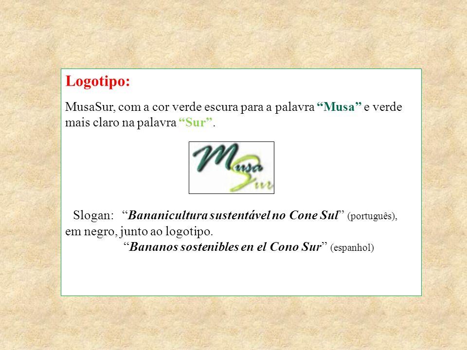 """Logotipo: MusaSur, com a cor verde escura para a palavra """"Musa"""" e verde mais claro na palavra """"Sur"""". Slogan: """"Bananicultura sustentável no Cone Sul"""" ("""