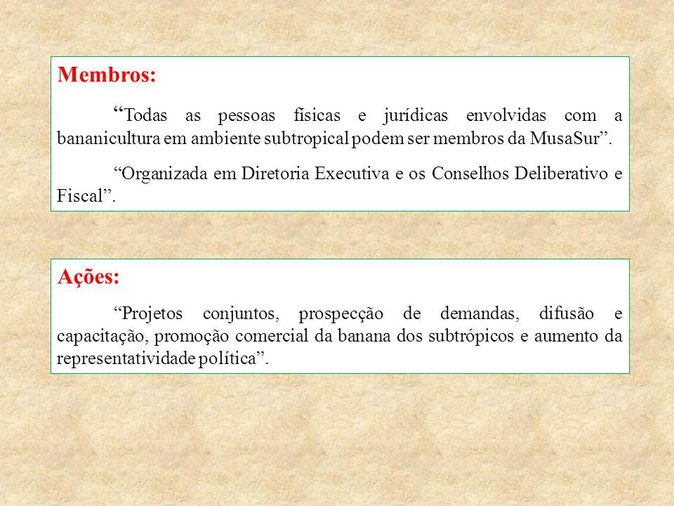 """Membros: """" Todas as pessoas físicas e jurídicas envolvidas com a bananicultura em ambiente subtropical podem ser membros da MusaSur"""". """"Organizada em D"""