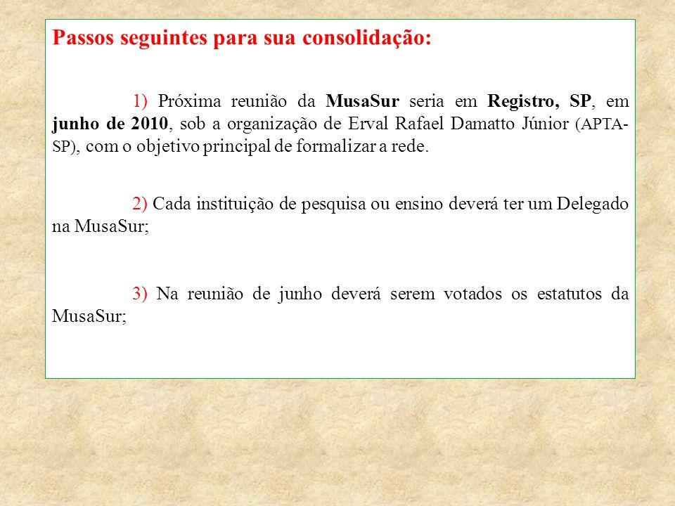 Passos seguintes para sua consolidação: 1) Próxima reunião da MusaSur seria em Registro, SP, em junho de 2010, sob a organização de Erval Rafael Damat