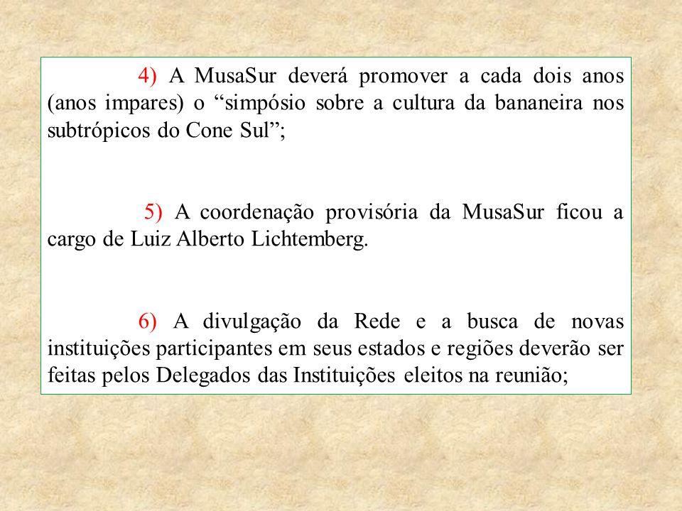 """4) A MusaSur deverá promover a cada dois anos (anos impares) o """"simpósio sobre a cultura da bananeira nos subtrópicos do Cone Sul""""; 5) A coordenação p"""