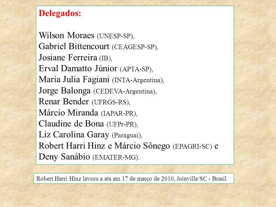 Delegados: Wilson Moraes (UNESP-SP), Gabriel Bittencourt (CEAGESP-SP), Josiane Ferreira (IB), Erval Damatto Júnior (APTA-SP), Maria Julia Fagiani (INT