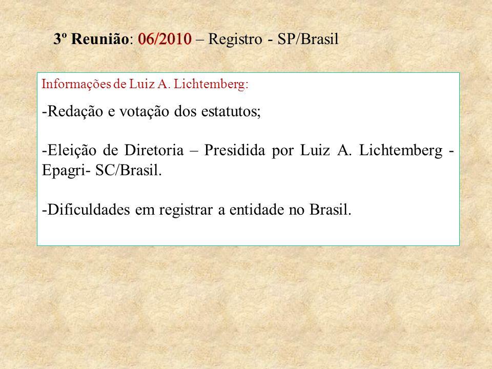 Informações de Luiz A. Lichtemberg: -Redação e votação dos estatutos; -Eleição de Diretoria – Presidida por Luiz A. Lichtemberg - Epagri- SC/Brasil. -