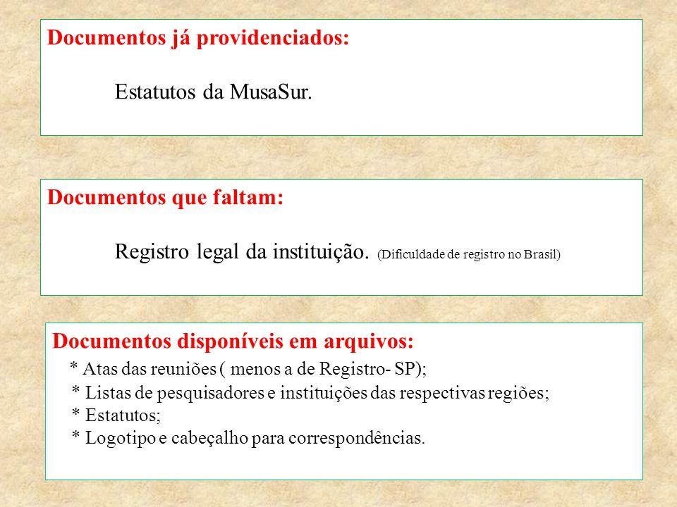 Documentos já providenciados: Estatutos da MusaSur. Documentos que faltam: Registro legal da instituição. (Dificuldade de registro no Brasil) Document